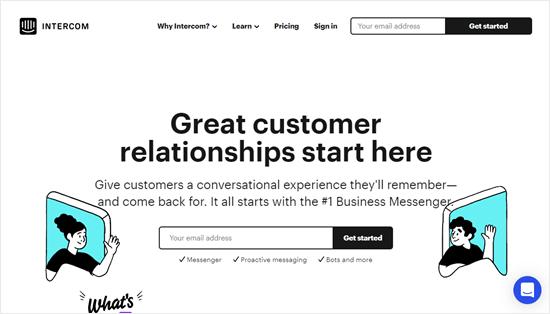 The Intercom website