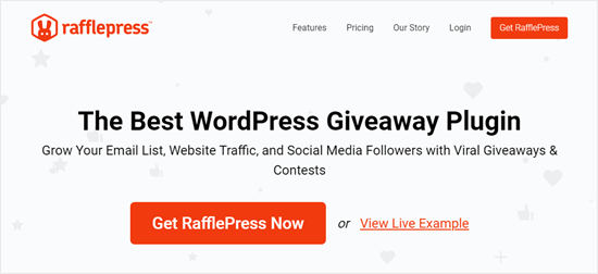 The RafflePress website