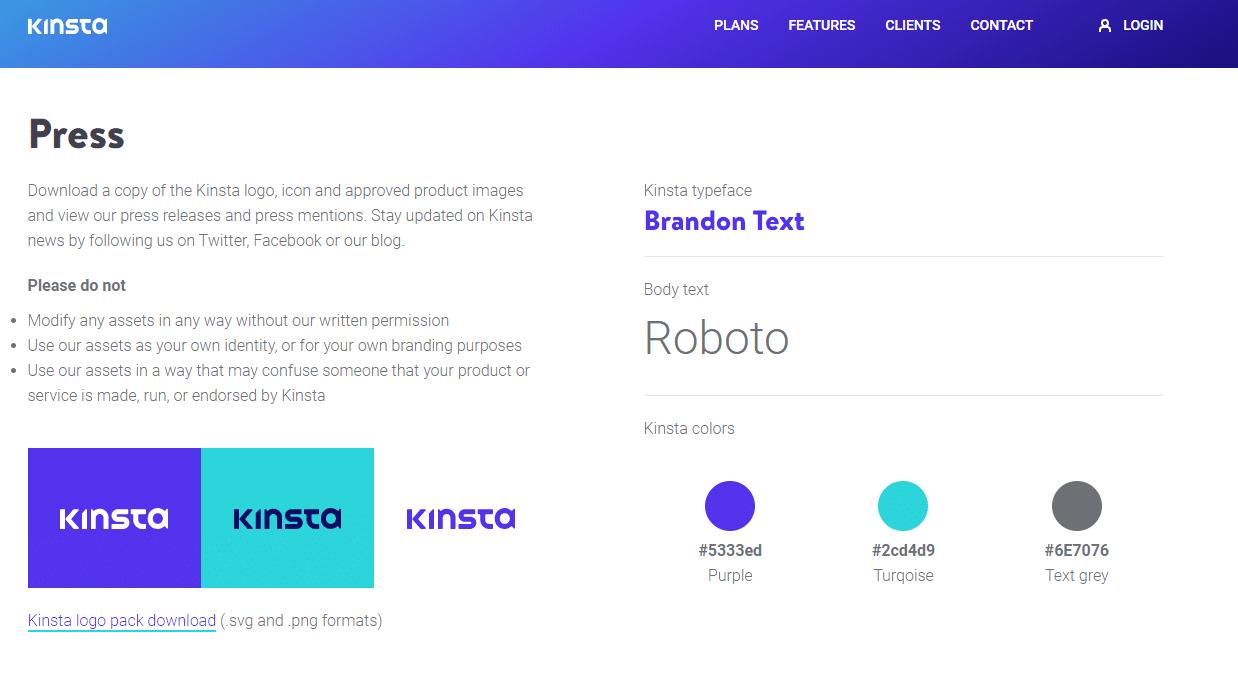 kinsta color scheme