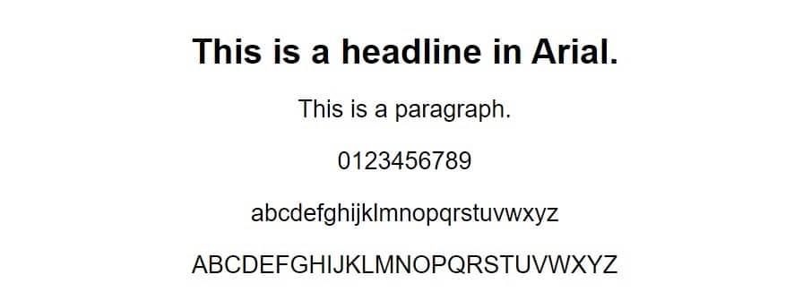 arial font - web safe fonts