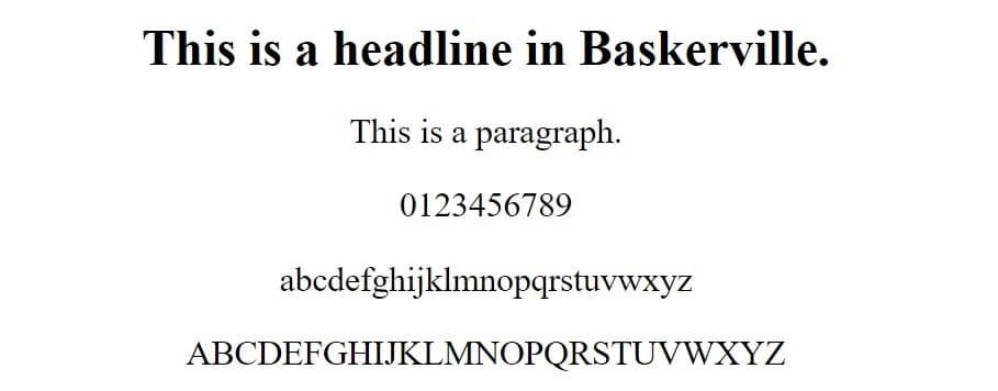 baskerville font - web safe fonts