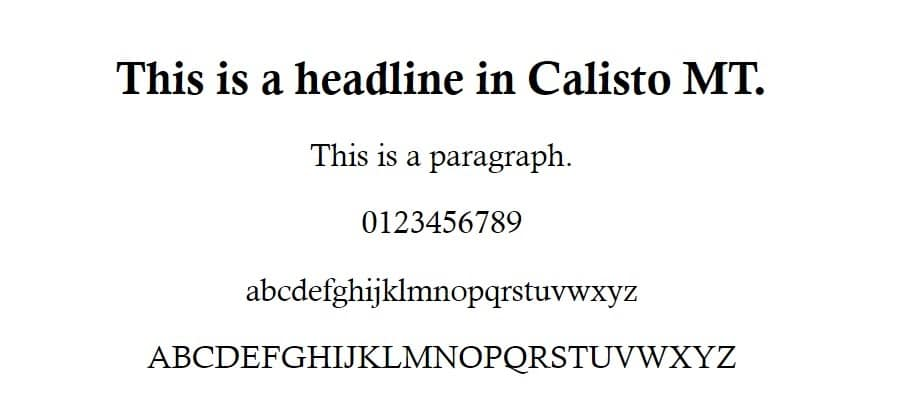 calisto mt font - web safe fonts