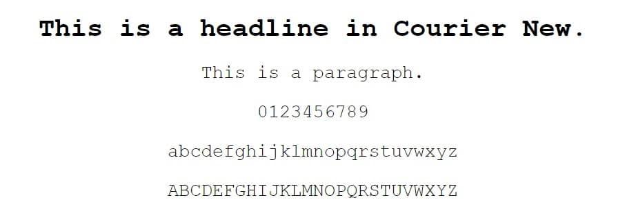 courier new font - web safe fonts