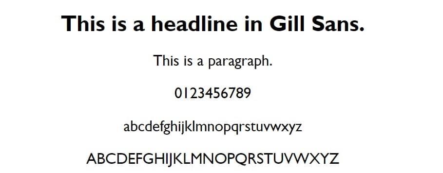 gill sans - web safe fonts