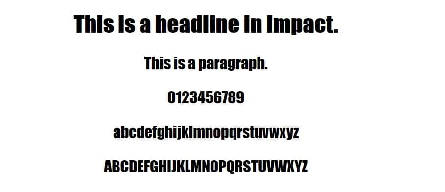 impact font - web safe fonts