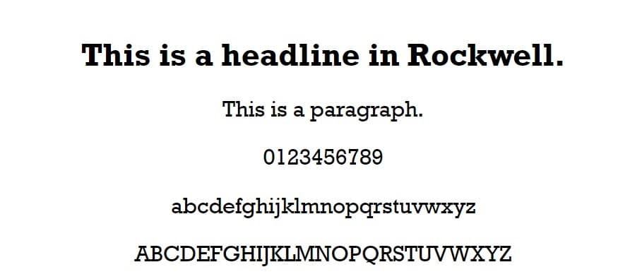 rockwell font - web safe fonts