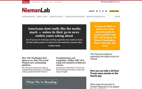 The Nieman Journalism Lab at Harvard University