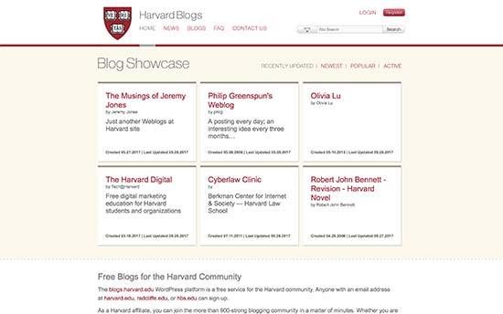 استفاده از وردپرس در دانشگاه هاروارد