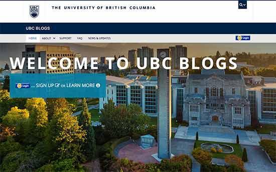 استفاده از وردپرس در بلاگ دانشگاه بریتیش کلمبیا UBC