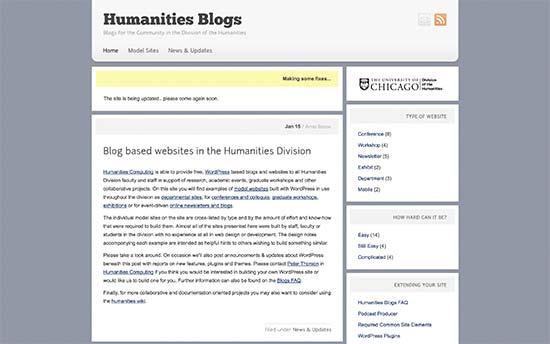 استفاده از وردپرس در وبلاگ دانشگاه شیکاگو