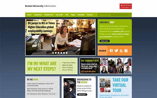 استفاده از وردپرس در بخش پذیرش دانشگاه بوستون
