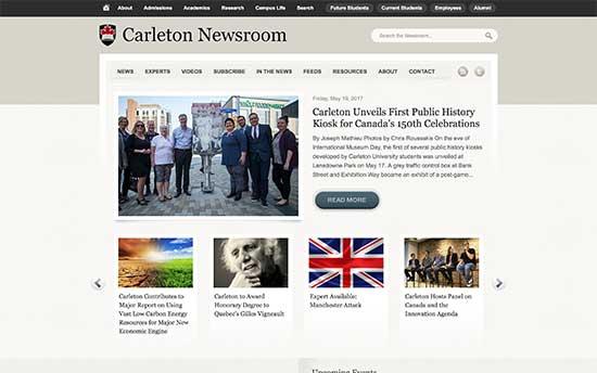 استفاده از وردپرس در بخش خبری دانشگاه Carleton