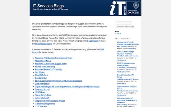 استفاده از وردپرس در بلاگ سرویس های دانشگاه آکسفورد