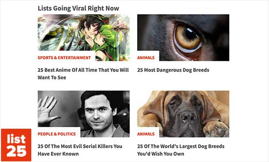 Trending articles example