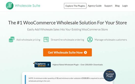 The Wholesale Suite website