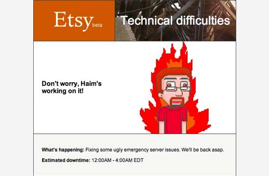 Etsy maintenance page