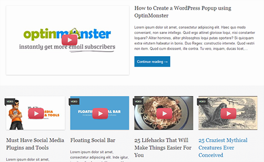 A preview of video thumbnails set as featured images in WordPress