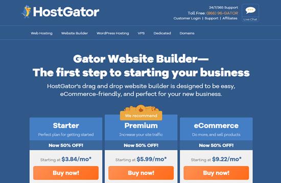 The Gator website builder's homepage