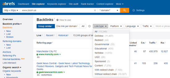 Filtering backlinks with Ahrefs