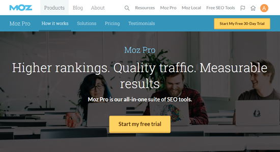 Moz Pro's signup page
