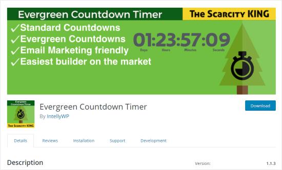 The Evergreen Countdown Timer plugin