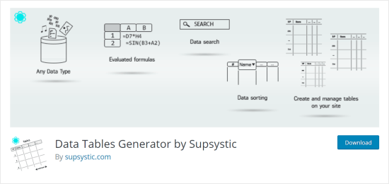 Data Tables Generator plugin for WordPress
