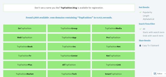 Lean Domain Search - Blog Name Generator Search Results