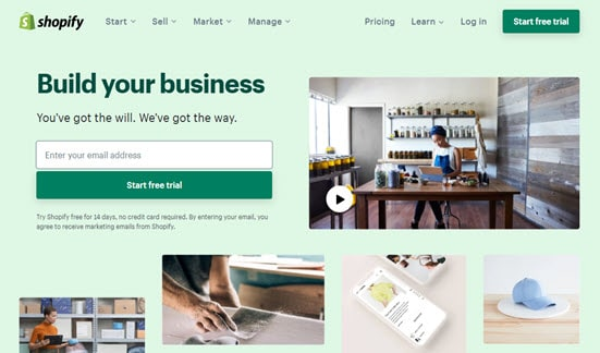 The Shopify website