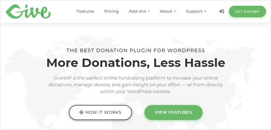 The GiveWP plugin's website