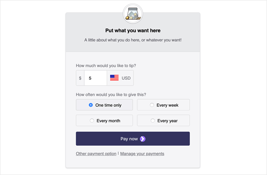 An example screenshot from Tip Jar WP showing the default tip jar