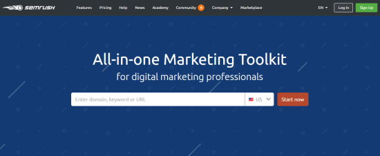 The SEMrush keyword tool's front page