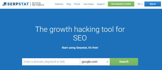 The Serpstat tool's front page