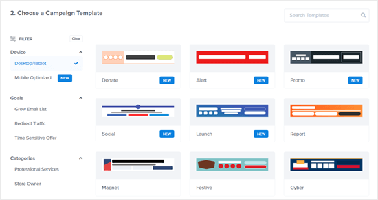 A selection of the floating bar template options in OptinMonster