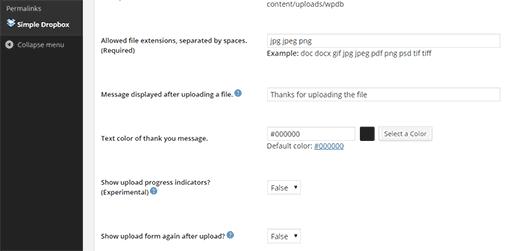 Simple Dropbox Upload settings