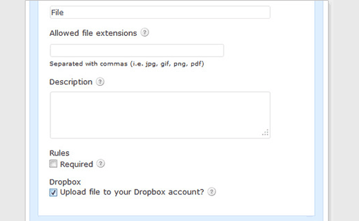 Uploading from Gravity Forms to your Dropbox account