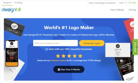 The Designhill logo maker