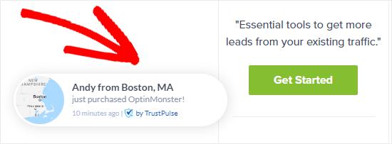 An example of a TrustPulse notification on OptinMonster's site