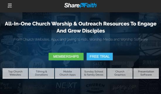 Sharefaith website builder for churches