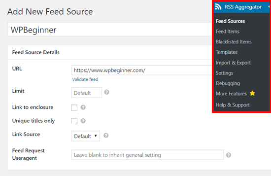 Add New Feed Source in WP RSS Aggregator