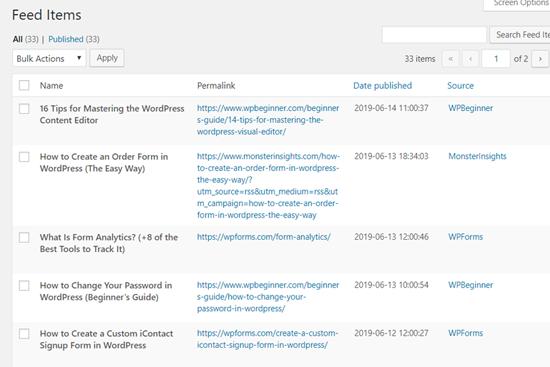 WP RSS Aggregator Feed Items in WordPress Dashboard