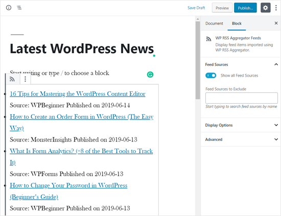 RSS News Feed Added in WordPress Page
