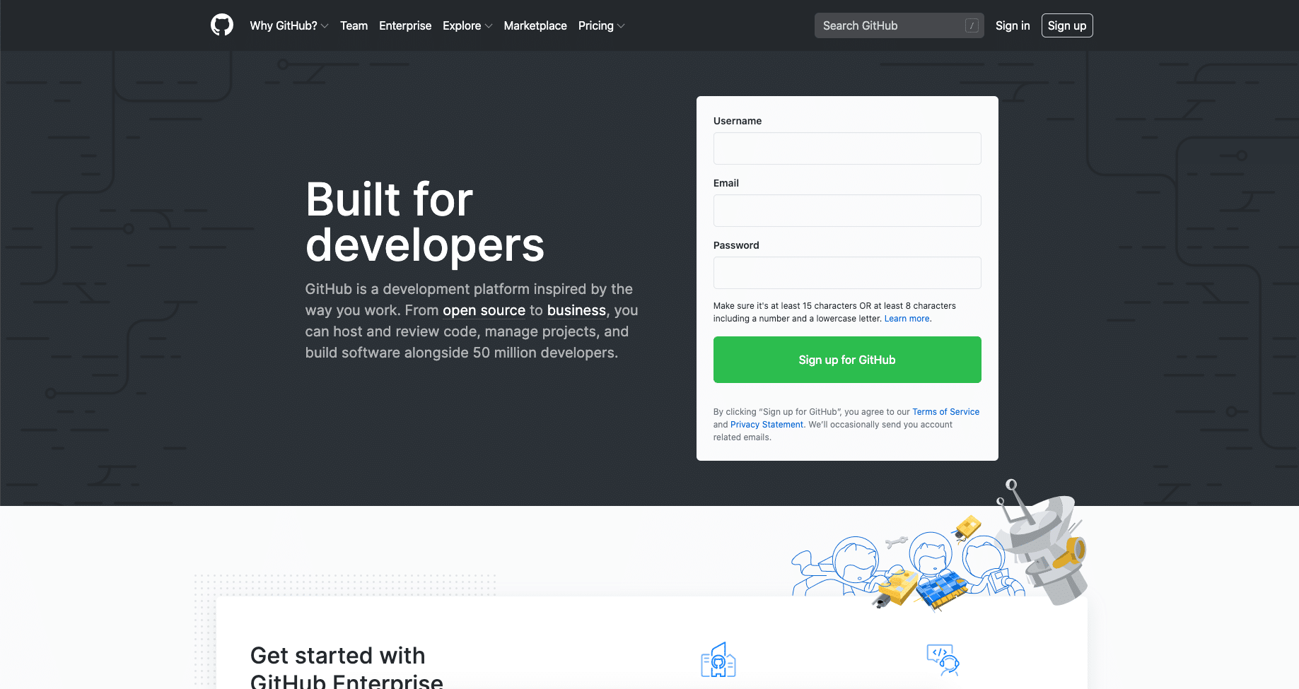 The GitHub website home page
