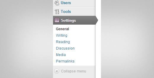 WordPress Settings Menu