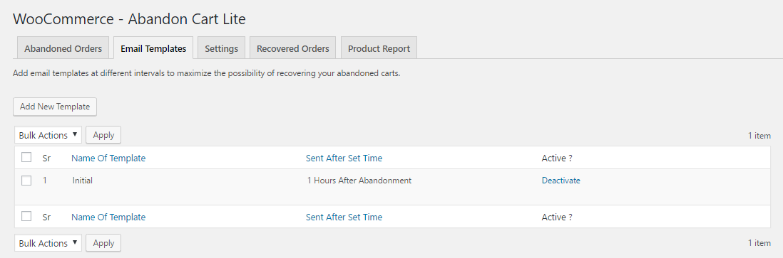 Abandoned Cart Lite for WooCommerce - templates tab
