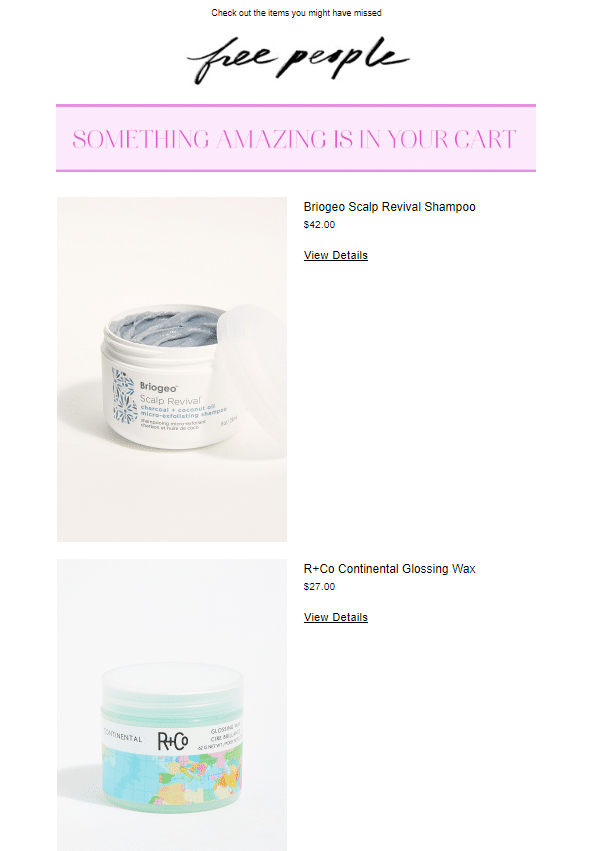 free people abandoned email
