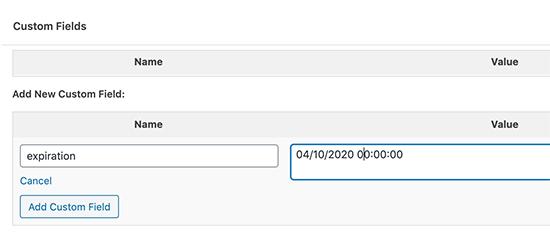 Adding an expiration date using custom field