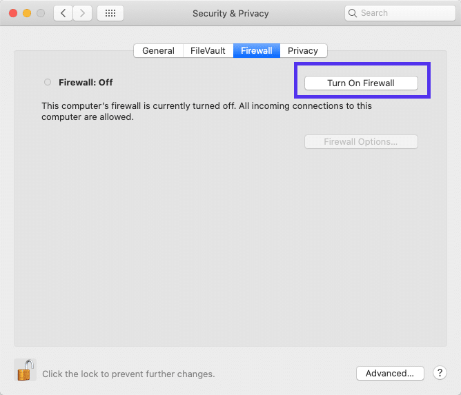 Firewall application in macOS