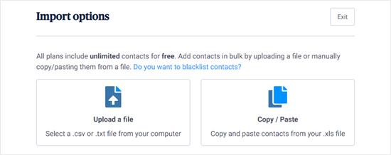 Sendinblue's import options for your contacts list