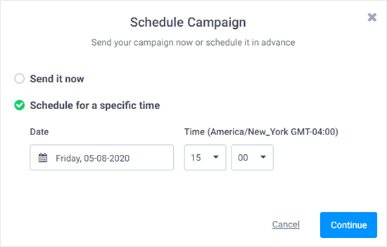 Send or schedule your SMS campaign