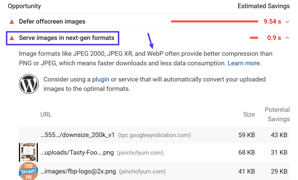 Google PageSpeed Insights suggests using WebP images